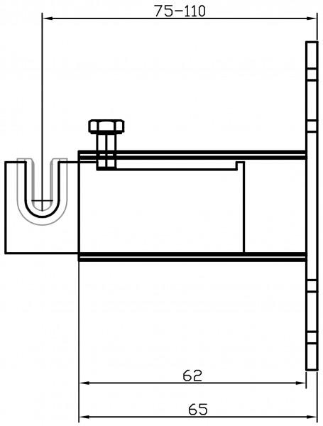 Metallhalterung W187 4-fachWand-Mitte Einlagelasche 75-110 mm