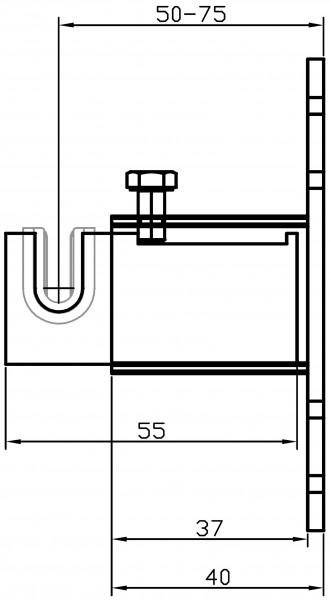 Metallhalterung W186 4-fachWand-Mitte Einlagelasche 50-75 mm
