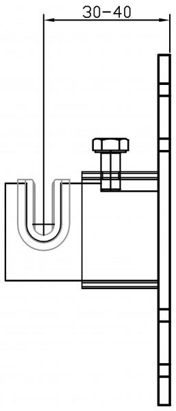 Metallhalterung W185 4-fachWand-Mitte Einlagelasche 30-40 mm